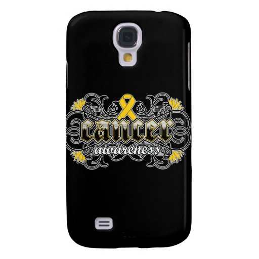 Childhood Cancer Awareness Floral Ornamental Galaxy S4 Cases