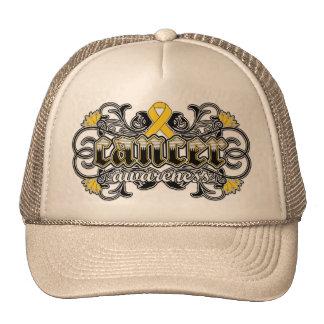 Childhood Cancer Awareness Floral Ornamental Trucker Hats