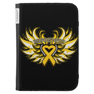 Childhood Cancer Awareness Heart Wings Kindle Keyboard Case