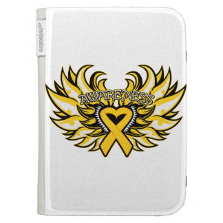 Childhood Cancer Awareness Heart Wings Kindle Folio Cases