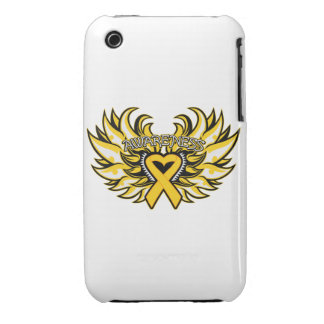 Childhood Cancer Awareness Heart Wings iPhone 3 Case-Mate Cases