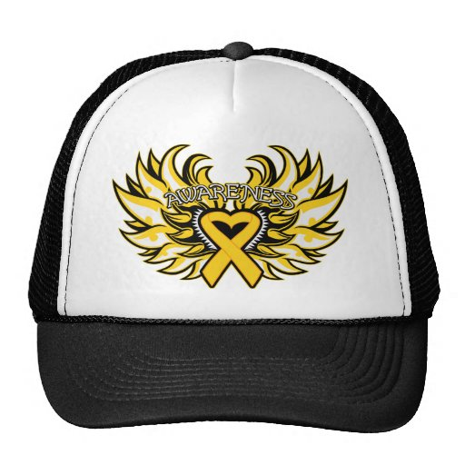 Childhood Cancer Awareness Heart Wings.png Mesh Hat