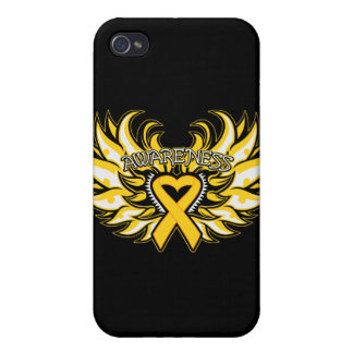Childhood Cancer Awareness Heart Wings png iPhone 4 Case