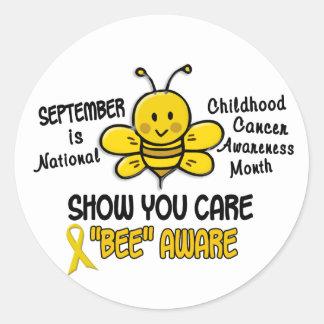 Childhood Cancer Awareness Month Bee 1.1 Round Sticker
