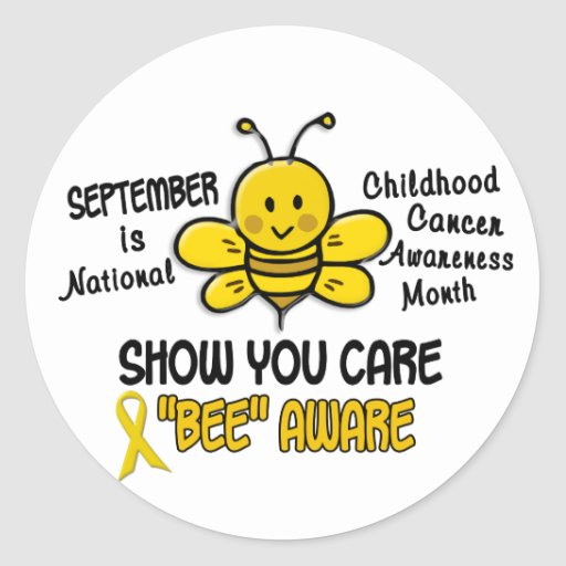 Childhood Cancer Awareness Month Bee 1.1 Round Stickers