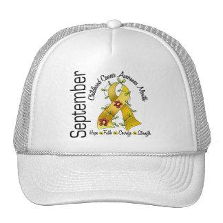 Childhood Cancer Awareness Month Flower Ribbon 1 Mesh Hats