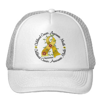 Childhood Cancer Awareness Month Flower Ribbon 3 Trucker Hat