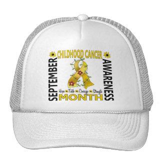 Childhood Cancer Awareness Month Flower Ribbon 4 Mesh Hat