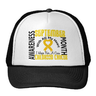 Childhood Cancer Awareness Month Heart 1.1 Mesh Hat