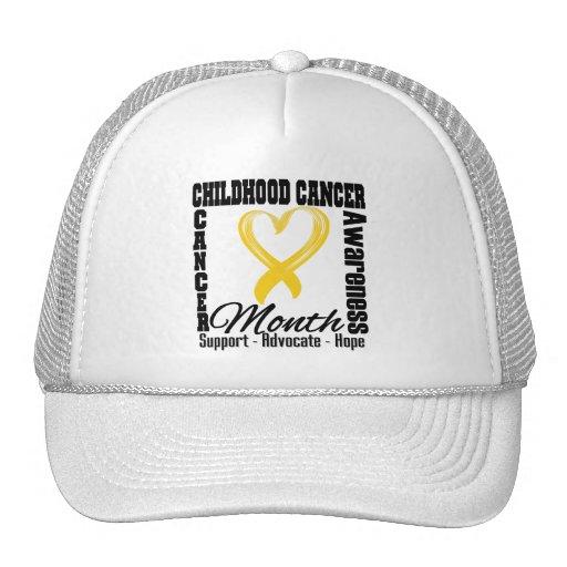 Childhood Cancer Awareness Month Heart Mesh Hats