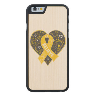 Childhood Cancer Believe Ribbon Heart Carved® Maple iPhone 6 Slim Case