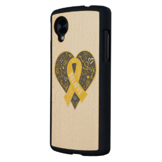 Childhood Cancer Believe Ribbon Heart Carved® Maple Nexus 5 Case