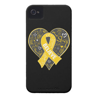 Childhood Cancer Believe Ribbon Heart iPhone 4 Cases
