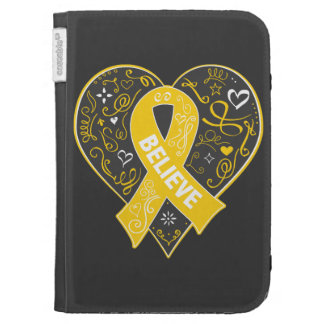 Childhood Cancer Believe Ribbon Heart Cases For The Kindle