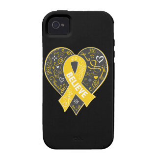 Childhood Cancer Believe Ribbon Heart Vibe iPhone 4 Covers