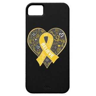 Childhood Cancer Believe Ribbon Heart iPhone 5 Covers