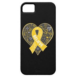 Childhood Cancer Believe Ribbon Heart iPhone 5 Case