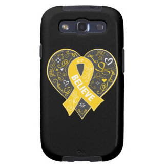 Childhood Cancer Believe Ribbon Heart Galaxy SIII Covers