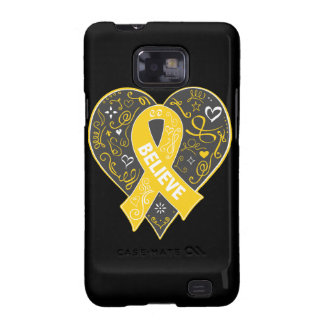 Childhood Cancer Believe Ribbon Heart Galaxy S2 Covers