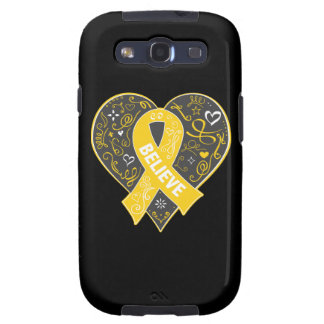Childhood Cancer Believe Ribbon Heart Samsung Galaxy S3 Cases