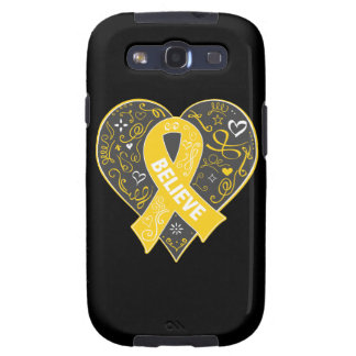 Childhood Cancer Believe Ribbon Heart Samsung Galaxy S3 Covers
