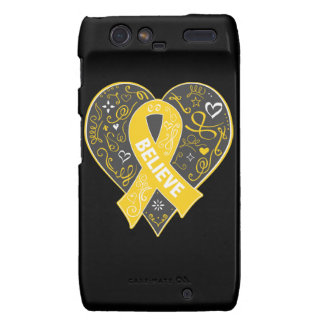 Childhood Cancer Believe Ribbon Heart Motorola Droid RAZR Cases