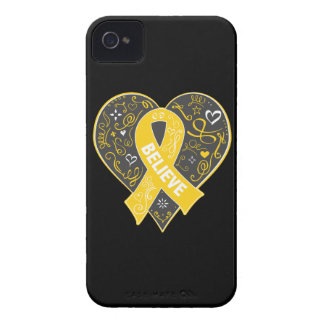 Childhood Cancer Believe Ribbon Heart Case-Mate iPhone 4 Case