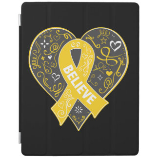 Childhood Cancer Believe Ribbon Heart iPad Cover
