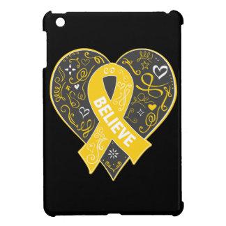 Childhood Cancer Believe Ribbon Heart iPad Mini Cases