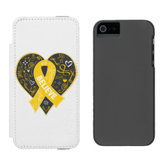 Childhood Cancer Believe Ribbon Heart Incipio Watson™ iPhone 5 Wallet Case