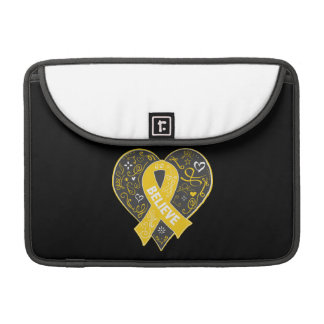 Childhood Cancer Believe Ribbon Heart Sleeves For MacBook Pro