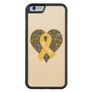 Childhood Cancer Believe Ribbon Heart Maple iPhone 6 Bumper Case
