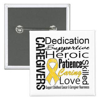 Childhood Cancer Caregivers Collage 15 Cm Square Badge
