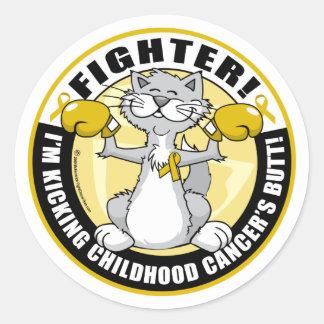Childhood Cancer Cat Fighter Round Sticker