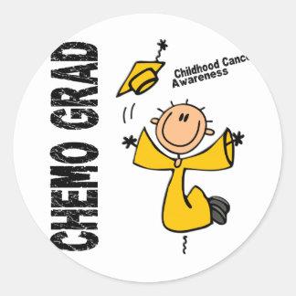 Childhood Cancer CHEMO GRAD 1 Classic Round Sticker
