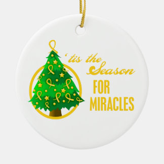 Childhood Cancer Christmas Miracles Round Ceramic Decoration