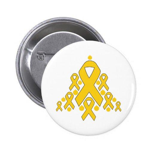 Childhood  Cancer Christmas Ribbon Tree Pinback Buttons