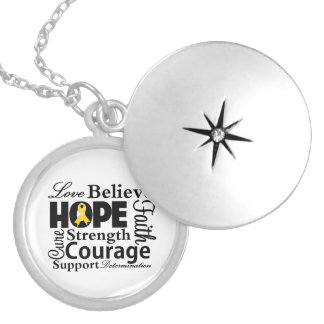 Childhood Cancer Collage of Hope Round Locket Necklace