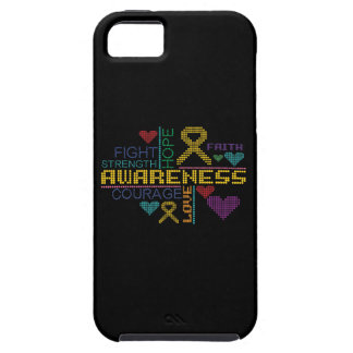 Childhood Cancer Colorful Slogans iPhone 5 Case