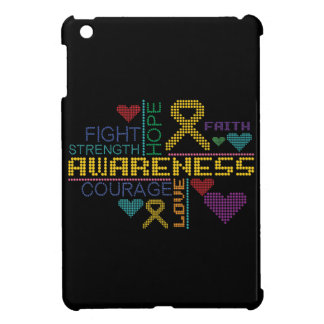 Childhood Cancer Colorful Slogans iPad Mini Cases