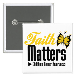 Childhood Cancer FAITH MATTERS 15 Cm Square Badge