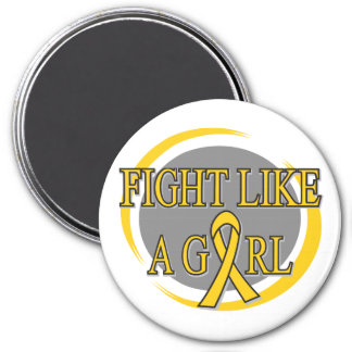 Childhood Cancer Fight Like A Girl Circular 7.5 Cm Round Magnet