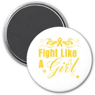 Childhood Cancer Fight Like A Girl Ornate Fridge Magnets