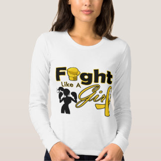 Childhood Cancer Fight Like A Girl Silhouette Shirt