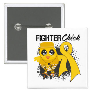 Childhood Cancer Fighter Chick Grunge Button