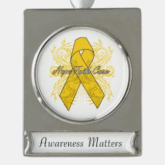 Childhood Cancer Flourish Hope Faith Cure Silver Plated Banner Ornament
