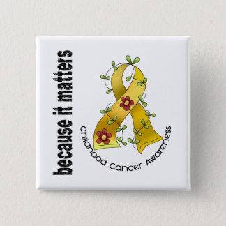 Childhood Cancer Flower Ribbon 3 15 Cm Square Badge