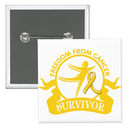 Childhood Cancer - Freedom From Cancer Survivor 15 Cm Square Badge