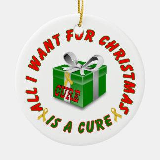 Childhood Cancer Gold Awareness Ribbon Christmas Round Ceramic Decoration