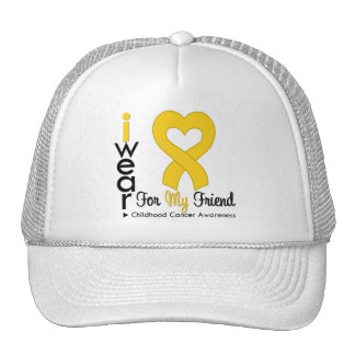 Childhood Cancer Gold Heart Ribbon For Friend Trucker Hats